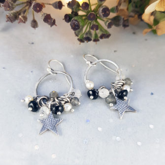 Winter star and gem earrings