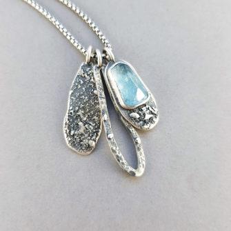 Aquamarine and textured silver pendants